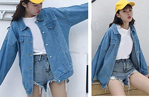 Botones Mujer Corto Jacket Mezclilla Vaquera Chaqueta Manga Suelto para Chaquetas Azul con Runyue Casual Larga De De wX0pxqEZv