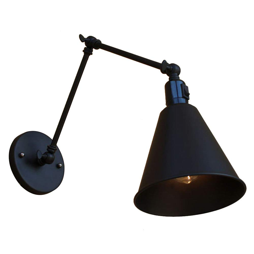 Newrays Antique Industrial Black Swing Arm Adjustable Wall Lights with Switch for Bedroom Sconce Fixture