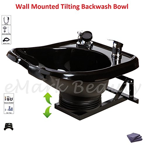 Shampoo Bowl Sink with a Tilt Mechanism Salon Spa Equipment TLC-B13-WT by eMark Beauty