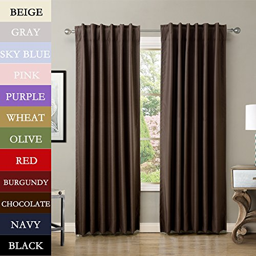 TWOPAGES® Solid Back Tab Polyester Drapes Chocolate Blackout Curtains 52