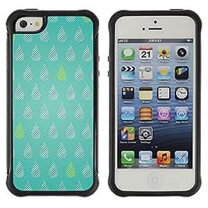 Híbridos estuche rígido plástico de protección con soporte para el Apple iPhone 5 / 5S - tears green rain raindrops pattern polka dot