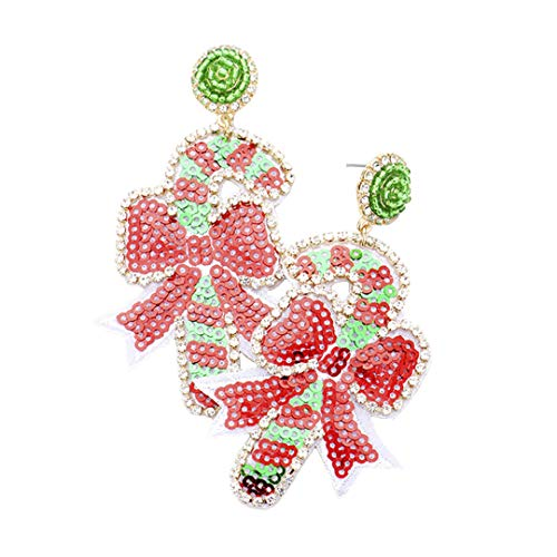 Kigmay Jewelry Christmas Outfit Collection 2019 Crystal Pave Trimmed Sequin Candy Cane Earrings