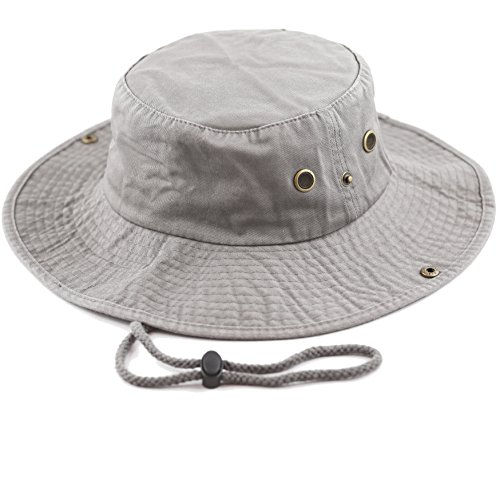 THE HAT DEPOT 300N1510 Wide Brim Foldable Double-Sided Outdoor Boonie Bucket Hat (L/XL, Grey)