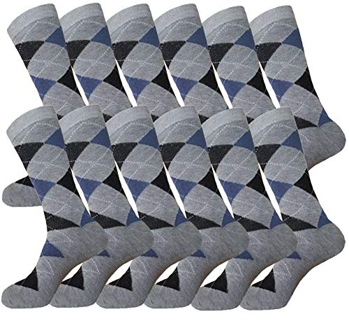 - MENS ARGYLE MATCHING DRESS SOCKS SETS GROOMSMEN WEDDING PARTY SOCKS COTTON BLEND 12-PAIRS ROYAL CLASSIC 10-13 (BLUE & GREY)
