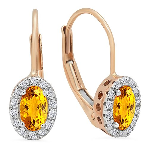 - Dazzlingrock Collection 14K Oval Cut Citrine & Round Cut White Diamond Ladies Halo Style Hoop Earrings, Rose Gold