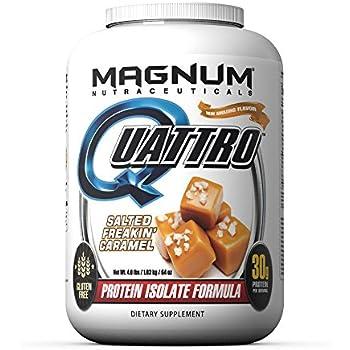 Magnum Nutraceuticals Quattro Protein Powder - 4lbs - Salted Freakin Caramel - Pharmaceutical Grade Protein Isolate - Lactose Free - Gluten Free - Peanut ...