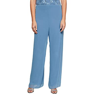 8ee0bb6a79c Image Unavailable. Image not available for. Color  Alex Evenings Womens  Chiffon Pull On Wide Leg Pants ...