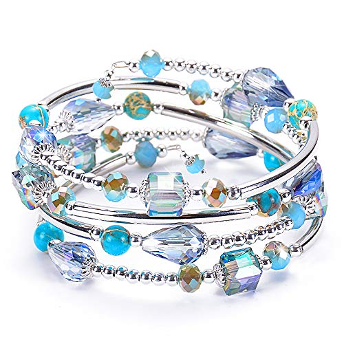 DESIMTION Wrap Cuff Boho Multilayer Wide Handmade Strand Wrist Braided Buckle Casual Bangle Bracelets Christmas Day Gifts for Women Girl, Teen Girl, Boy Gift