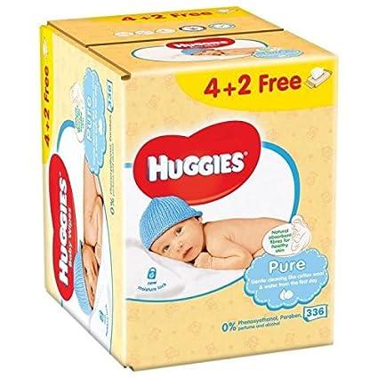 HUGGIES Lingettes Pure peaux sensibles 4+2 Gratuite (6x56)