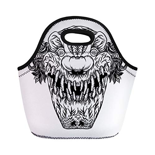 Semtomn Neoprene Lunch Tote Bag Creepy Scary Cartoon Clown Horror Movie Zombie Face Character Reusable Cooler Bags Insulated Thermal Picnic Handbag for Travel,School,Outdoors, Work -