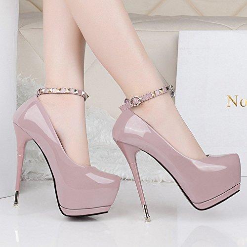 XiaoGao desnudo centímetros único zapato alta Violeta cuero de zapatos tacon de hebilla de remache 15 el de ArwqxSAZ