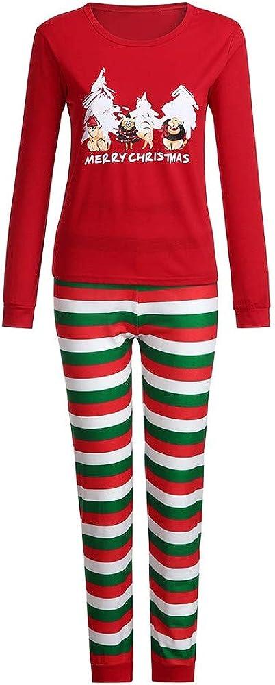Pottseth/_pajamas Kids Family Couple Matching Christmas Red Stripe Cartoon Letter Printing Pants Set Sleepwear