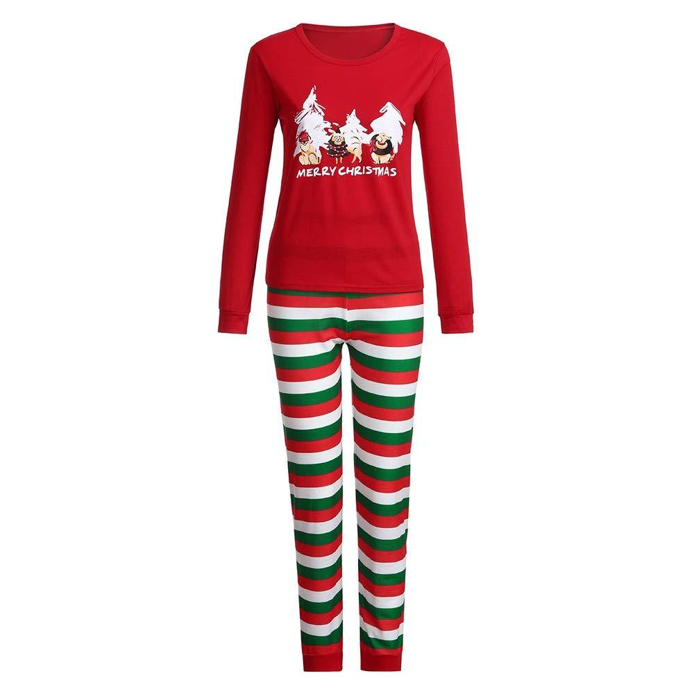 fc814f3f89 Amazon.com  FEDULK Matching Family Pajamas Christmas Tree Print Striped  Holiday Kids Sleepwear Sets  Clothing
