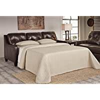 Ashley Furniture Signature Design - OKean Upholstered Leather Sleeper Sofa - Queen Size - Contemporary - Mahogany