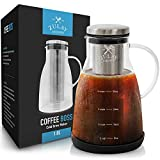 Airtight Cold Brew Coffee Maker with EXTRA-THICK Glass Carafe, Stainless Steel Mesh Filter and Non-Slip Silicone Base - Premium Iced Coffee Maker, Cold Brew Pitcher & Tea Infuser - by Zulay