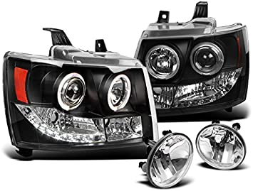 2007-2013 AVALANCHE//SUBURBAN//TAHOE LED HALO SMOKE PROJECTOR HEAD LIGHTS+FOG LAMP