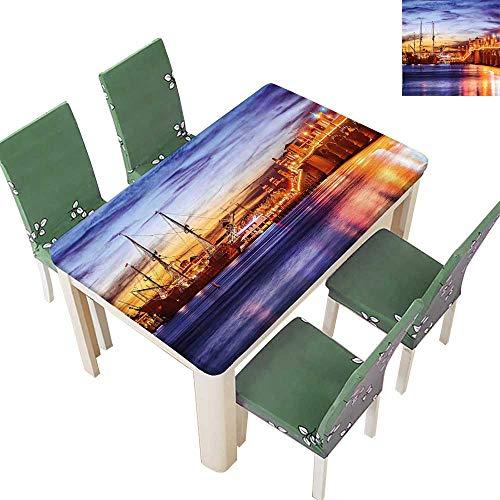 Printsonne Table in Washable Polyeste St. Augustine Florida Famous Bridge of Lions Dreamy Sunset Majestic Orange Blue Coral Wedding Party Restaurant 54 x 102 Inch (Elastic Edge)