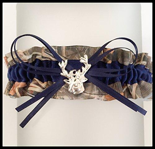 Camouflage Navy Blue Satin Camo Prom Wedding Keepsake Bridal Garter - Deer Head Charm