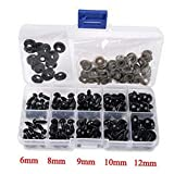 100PCS(1 Box) 6-12mm 5 Specifications Solid Plastic Safety Noses Eyes With Washers For Sewing For DIY Bear Doll Black