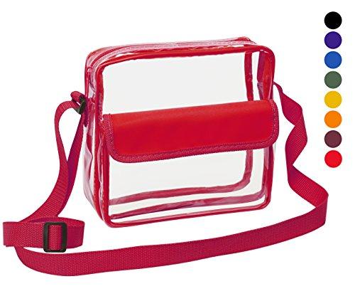 Clear Crossbody Messenger Shoulder Bag with Adjustable Strap NFL Stadium Approved Transparent Purse (Red)