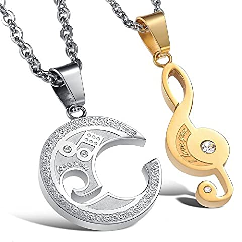KONOV 2pcs Mens Womens Couples Music Stainless Steel Pendant Love Necklace, 18 & 22 inch Chain (Konov His And Hers)