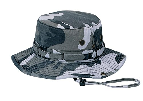 Wholesale Camouflage Cotton Fishing Hunting Hiking Outdoor Bucket Hat w/ Chin Cord (City Camo, Size L) - (Bucket Hat Wholesale)