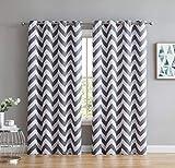 dark grey curtains ikea HLC.ME Chevron Print Thermal Insulated Energy Efficient Room Darkening Blackout Window Curtain Grommet Top Panels for Bedroom & Nursery - Set of 2 - 52