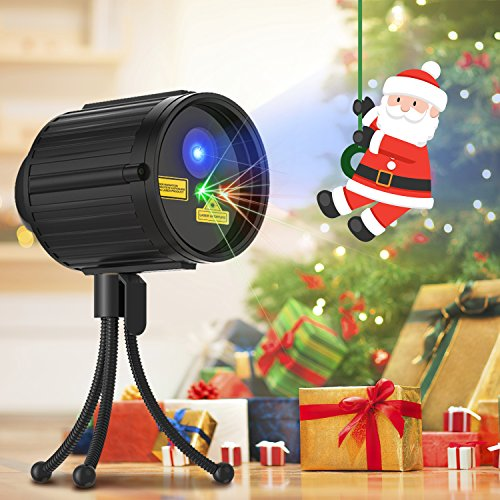 Christmas Laser Lights, Projector for Outdoor Garden Decorations - Red & Green Moving Stars with 8 Patterns, Waterproof & Timer Preset in Lawn, Landscape and Houses