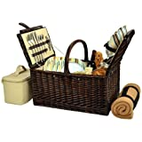 Picnic at Ascot Buckingham Willow Picnic Basket with Service for 4 with Blanket- Santa Cruz