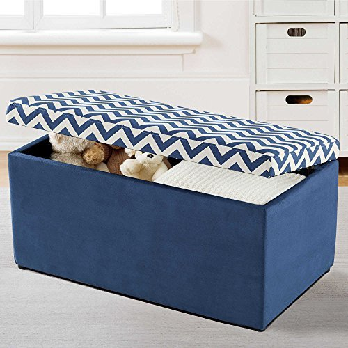 Toy Chest / Toy Box Chevron Design in Navy and White - 36'' L x 17'' W x 18'' H. Padded Top So it Can Be Used as Seating as Well