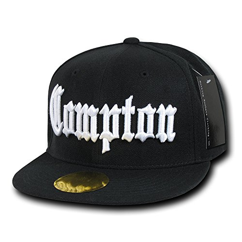 DECKY City Name Old English Embroidered Flat Bill Snapback Cap - Black - Compton]()