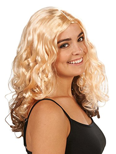 Dream Weavers Costumers Blonde with Brown Layer Curly Adult Wig