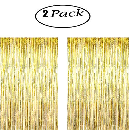 Foil Fringe Curtains, Sundell Foil Curtains Metallic Fringe Party Door Shimmer Curtain for Party Photo Backdrop Birthday Wedding Christmas Decorations Accessory 3.2 ft x 9.8 ft (Gold, 2 Packs)