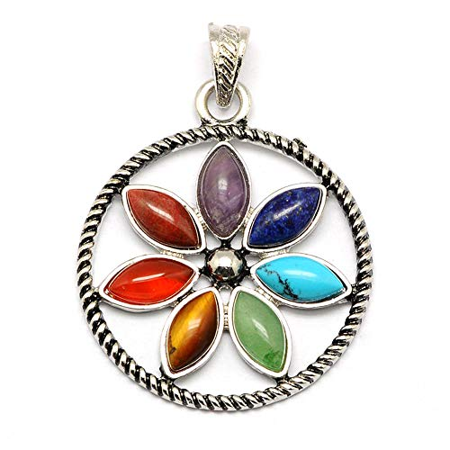 - Craftdady 10pcs Mixed Stone Yoga Chakra Flower Floral Shape Platinum Plated Brass Gemstone Pendants Charms with Big Hole for DIY Jewelry Making Findings
