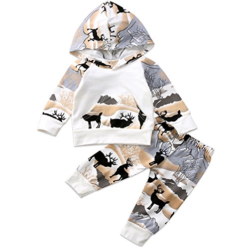 Annvivi Newborn Baby Boys Long Sleeve Deer Mountain Hoodie Tops Sweatsuit Pants Outfit Set (Forest Deer, 0-6 - Mountain Deer