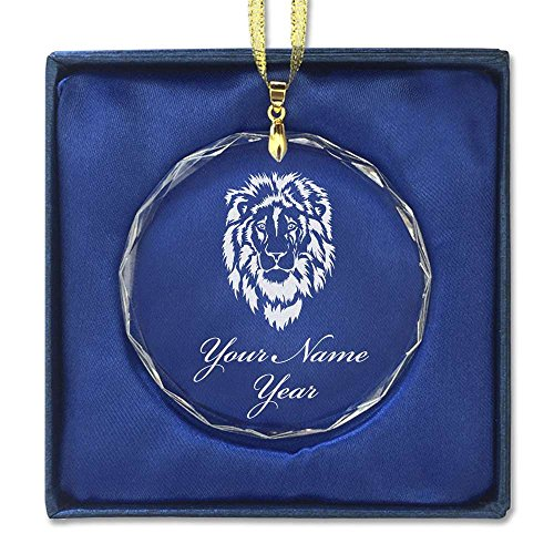 Crystal Lion Head (Round Crystal Christmas Ornament - Lion Head - Personalized Engraving Included)