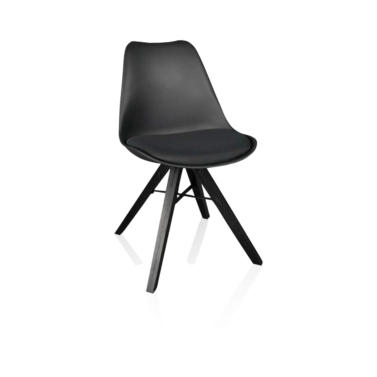 Heyesk Dining Room Chair Mid Century Modern Chairs,Upholstered Seat(Black, 1)