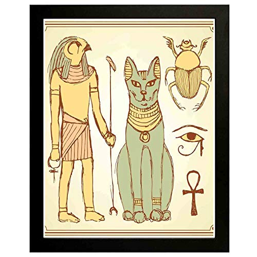 Akalidebaih Egyptian Art Wall Painting,Frame.Graphic of Ancient Egyptian Religious Icons with Cat Figure in Retro,Art Deco Print,Home,Office,Cafe 14x11inch