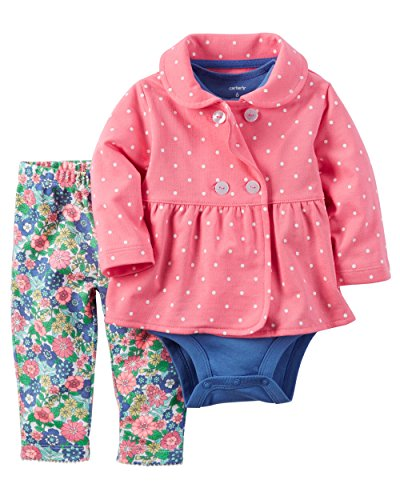 Carter's Baby Girls' 3 Piece Cardigan Set (Baby) - Pink Polka Dot Jacket, 9 Months