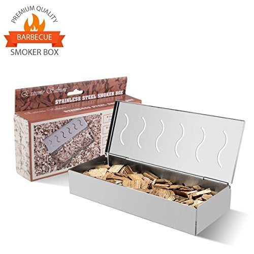 Smoker Box for BBQ Wood Chips, Grill Smoker Box Stainless Steel BBQ Smoker Box with Hinged Lid Smoker Boxes for Barbecue Meat Smoking Flavor on Charcoal Propane Electric Gas, Best Grill Accessories