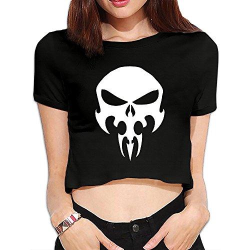 (TLK Custom Women The Punisher Skull Logo Crop Top)