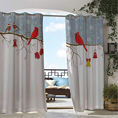 Linhomedecor Outdoor Waterproof Curtain Cardinal Colorful Christmas Illustration Bullfinches and Hanging Ornaments and Mittens Multicolor Porch Grommet Privacy Curtain 96 by 96 inch