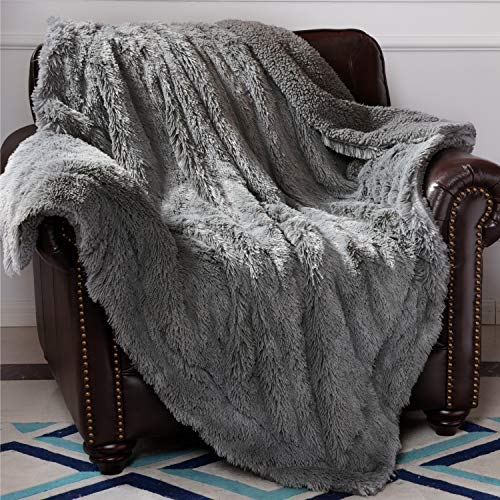 Bedsure Faux Fur Reversible Shaggy Sherpa Throw Blanket - Super Soft Fuzzy Fluffy Plush Throws, Fleece Blanket for Bed Sofa Couch Chair Fall Winter Spring Living Room (50x60 inches, Grey)
