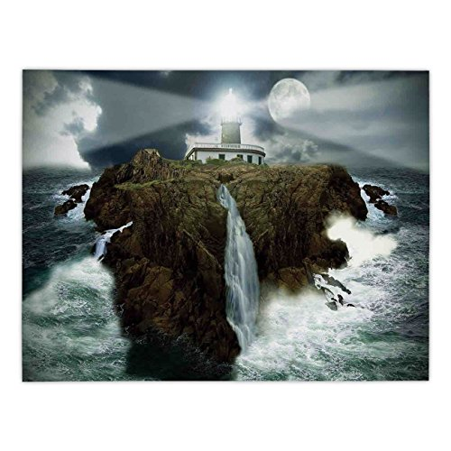 Polyester Rectangular Tablecloth,Lighthouse Decor,Island with Lighthouse Rocks Stormy Sea Crashing Waves Full Moon Lightbeams,Gray White Brown,Dining Room Kitchen Picnic Table Cloth Cover,for -