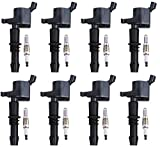 ENA Set of 8 Spark Plugs and 8 Ignition Coils for 2005-2008 Ford F150 F-150 Expedition F-250 Super Duty F-350 Super Duty 5.4L V8
