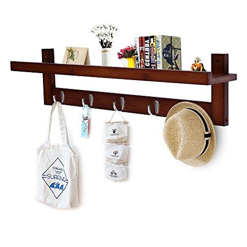 Wooden Hooks for Wall Coat Rack Shelf, Wall-Mounted Bamboo Hook Rack with Upper Shelf for Storage Scandinavian Style for Hallway Bathroom Living Room Bedroom (5 Hooks Brown)