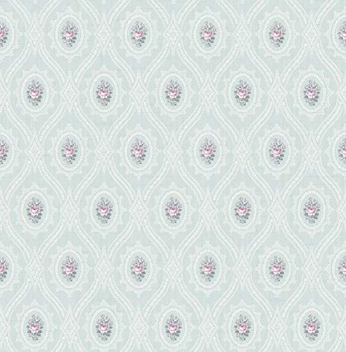 Fleur De Lis Cameo (Petite Cameo Wallpaper in Soft Blue MM51104 by Wallquest)