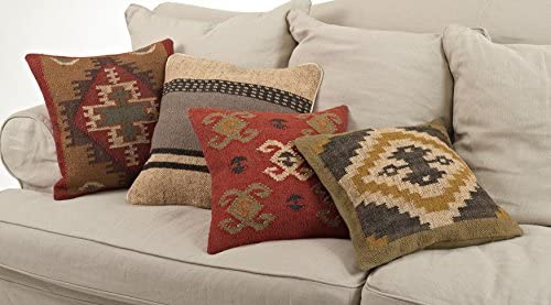 SARO LIFESTYLE 5173.M20S Collection Kilim Design Down Filled Throw Pillow, Multi, 20 Square, Multicolor