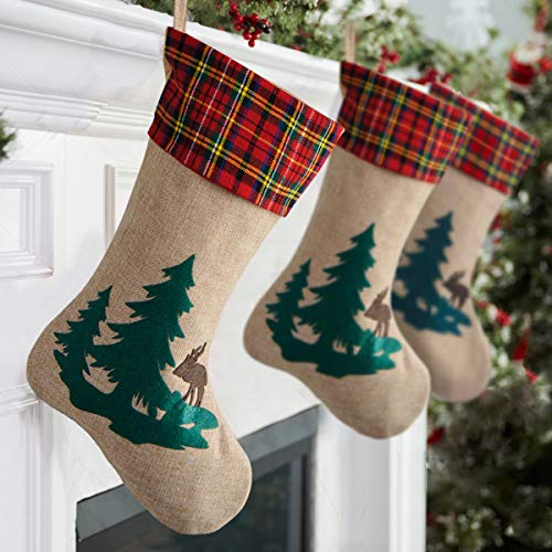 Kingstar Craft 18 inches Burlap Christmas Stocking with Reindeer in The Woodland Collection for Christmas Decorations ()