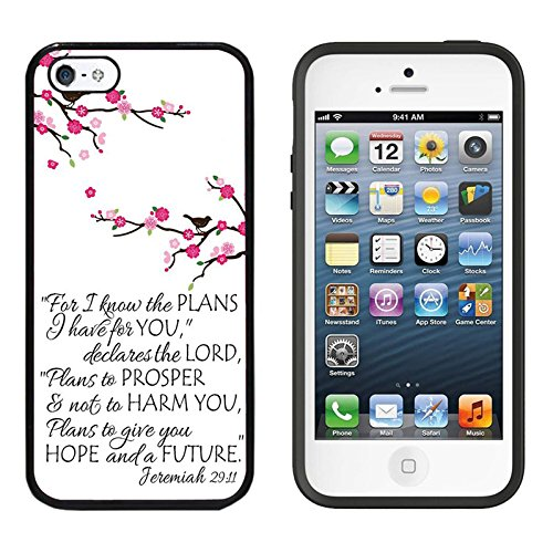 iPhone SE Case, DOO UC (TM) Ultra Protective Cases For Apple iPhone SE (2016) & iPhone 5S 5 Black Case - Quote Jeiemiah 29:11 Plum flower (Quote Case For Iphone 5s)